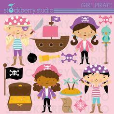 girl pirate digital clipart
