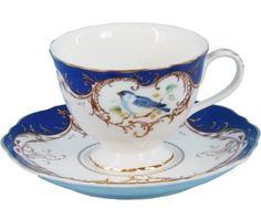 Gracie China 7-Ounce Tea Cup and Saucer Scallop Edge, Royal Blue Bird by Coastline Imports, http://www.amazon.com/dp/B008ID3KVW/ref=cm_sw_r_pi_dp_j6qirb1P1DRR7
