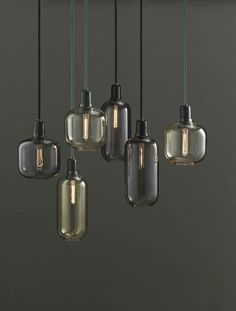 Normann Copenhagen – Amp Lampe – Gold/Grün – S Norman Copenhagen, Copenhagen Design, Small Lamps, Luminaire Design, Glass Pendant Light, Pendant Lamps, Pendant Lights, Glass Lamps, Light Design