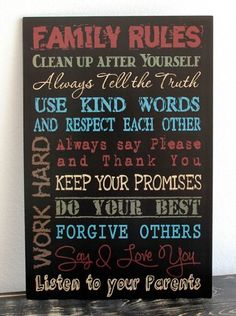 Primitive Wall Decor Wood Sign, Family Rules, Black Creative Touch Http://