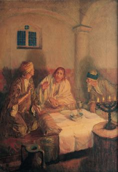 The resurrected Jesus Christ sitting at a meal with Luke and Cleopas after his walk with the disciples on the road to Emmaus.