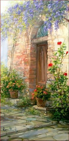 Old Painting - Old Door With Flowers by Antonietta Varallo