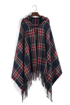 Navy Tartan Plaid Wool Hooded Cardigan #genuine-people