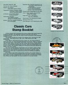CLASSIC CARS 1988- SOUVENUR  PAGE-FIRST DAY OF ISSUE-FDC,#200057