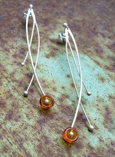 Amber poppy earrings