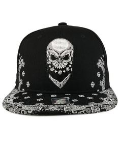 Buy Trendy Apparel Shop Skull Bandana Embroidered Snapback With Paisley Print Flatbill Cap - Black: Shop top fashion brands Baseball Caps at Cheapcapssmall. Leather Baseball Cap, Baseball Caps, Baseball Gloves, Dope Hats, Flex Fit Hats, Boater Hat, Fedora Hat, Adidas Shoes Women, Mens Caps
