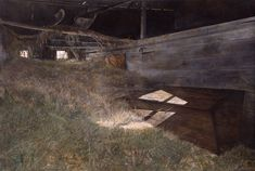 Andrew Wyeth (1917 - 2009, USA), McVey's Barn, 1948. Egg tempera on masonite. 323/8х48х1 in. (82.2 х 121.9x2.5cm.)