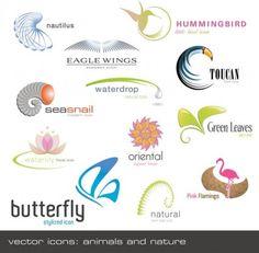 animals plants shape logo template vector