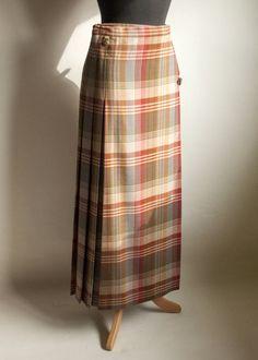 8618587eb7abd Vintage MULBERRY Classics Scottish Pure Wool Green   Burgundy Tartan Kilt  Skirt Leather Buckles by UpStagedVintage