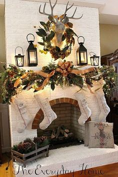 Greens with ribbon and white stockings for the mantel