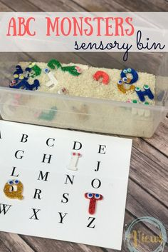 With Water instead. This ABC Monsters sensory bin incorporates some homemade letter monsters and the lovable kids' show, the ABC Monsters! Learn letters through play! Alphabet Activities, Sensory Activities, Preschool Activities, Sensory Play, Preschool Alphabet, Kindergarten Literacy, Autism Sensory, Sensory Diet, Time Activities