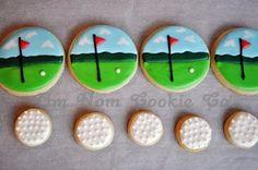 Golfing cookies~ By Alibeesbakeshop, white golf ball, green fairway No Bake Sugar Cookies, Fancy Cookies, Cute Cookies, Royal Icing Cookies, Mini Cookies, Golf Cookies, Golf Cupcakes, Fathers Day Cake, Golf Theme