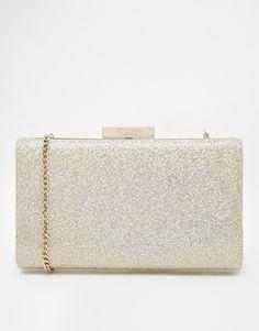 Dune Hard Case Champagne Glitter Clutch