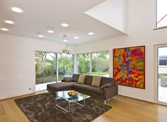 Haus FUTURE - Wohnbereich - Fertighaus WEISS - Plusenergiehaus - Satteldach - living room