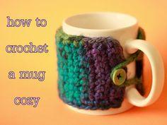 Liz Makes: Liz makes a crocheted coffee mug cozy tutorial