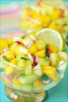 Mango & Cucumber Salsa....I use cilantro and fresh chile serranos (not parsley and chile sauce as the recipe calls for)
