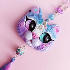 Crystalcorn pastel bue and pink fantasy cat ncklace by FleurDeLapin