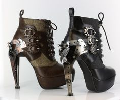 amazing HADES OXFORD Custom Steampunk Metallic Plated-heel Ankle Bootie, Color:BLK, US Size9