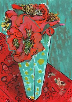 Peonies-and-yellow-polka-dots by mariapacewynters, via Flickr