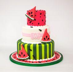 watermelon cake Pretty Cakes, Cute Cakes, Beautiful Cakes, Amazing Cakes, Fondant Cakes, Cupcake Cakes, Bolos Cake Boss, Cake Boss Cakes, Watermelon Birthday Parties