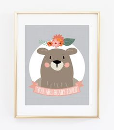 Woodland Nursery Art Print, Woodland Wall Art Decor, Bear Illustration, You are Beary Loved, Valentines Print, Bear Print, Nursery Decor by WillowAndOlive on Etsy