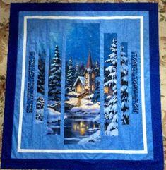 Silent Night Quilt Kit 52 x 56 Bargello Quilts, Lap Quilts, Strip Quilts, Sampler Quilts, Quilting Projects, Quilting Designs, Quilting Tutorials, Motifs Applique Laine, Fabric Panel Quilts