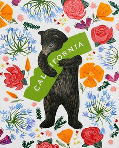 "3 Fish Studios — ""I Love You California"" Botany Print"