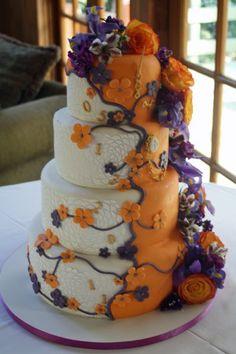 Orange and purple wedding cake! I think I would want the cake all white not half orange Orange Purple Wedding, Purple Wedding Cakes, Wedding Cake Photos, Themed Wedding Cakes, Wedding Cake Designs, Orange And Purple, Wedding Colors, Wedding Ideas, Fall Wedding