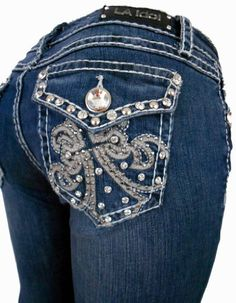 Details about Women LA Idol Plus Size Boot Cut Jeans Blue Denim ...