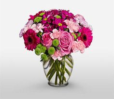 Green,Mixed,Pink,Red,Carnation,Mixed Flower,Rose,Arrangement