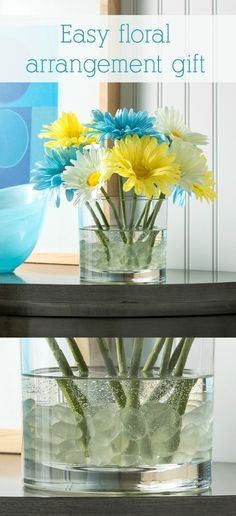 Make this simple flower arrangement with pretty faux florals and a product called Quick Water. This will look pretty in your home decor and lasts forever!
