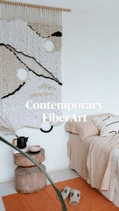 Contemporary Bedroom, Contemporary Art, Fibre Art, Tapestry Weaving, Minimalist Bedroom, Textile Art, Home Interior Design, Furniture Decor, Fiber