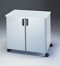 This two door utility cabinet is available in two color combinations and makes the perfect mobile printer stand for any workspace. #PrinterStand #OfficeCabinet #UtilityCabinet