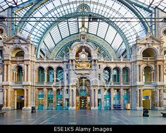 The interior exit of the Antwerp Train Station, considered to be among the most beautiful in the world.