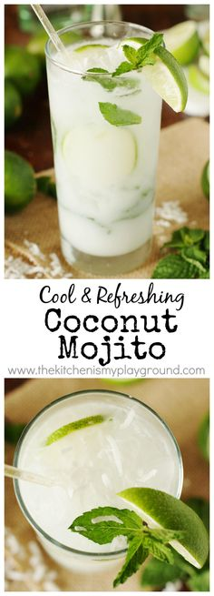Coconut Mojito Coconut Mojito ~ Ditch the margaritas, and enjoy a refreshing Coconut Mojito for your Cinco de Mayo … or any day … sipping. Such a delicious combination of fresh mint, lime, & coconut! Summer Cocktails, Cocktail Drinks, Popular Cocktails, Healthy Cocktails, Fall Drinks, Sangria, Non Alcoholic Drinks, Beverages, Coconut Mojito
