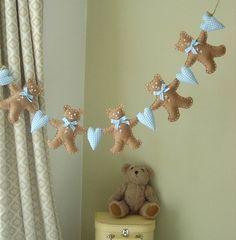felt teddy garland - blue or pink by cherish | notonthehighstreet.com