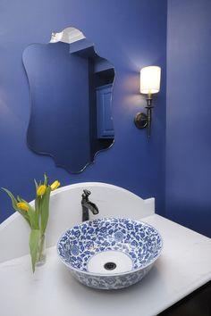 Blue Powder Bath Remodel - Traditional - Powder Room - houston - by Carla Aston Top 10 Bathroom Designs, Bathroom Sink Design, Room Design, Blue Bathroom, Blue Powder Rooms, Bath Remodel, Trending Decor, Bathroom Design Trends, Powder Room Design