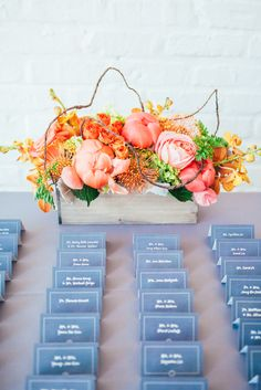 Rustic Chic Coral Flower Arrangement | Studio Finch Photography https://www.theknot.com/marketplace/studio-finch-photography-chicago-il-496480