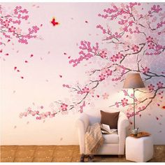 Free Shipping. Buy Tayyakoushi Pink Cherry Blossom Wall Decal Flower Wall Sticker For Living Room at Walmart.com
