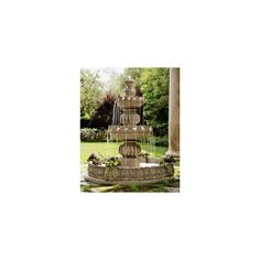 Neiman Marcus Three-Tier Castle Fountain ($1,995) ❤ liked on Polyvore featuring home, outdoors, garden fountains, outdoor garden fountains, outdoor patio fountains, 3 tier garden fountain, 3 shelves and 3 shelf