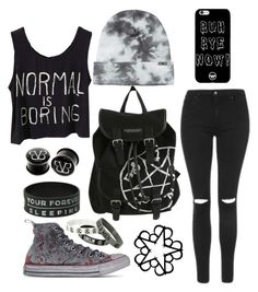 """BvB~~ My new Fav band  ""ψ(`∇´)ψ"" by chloetheboss ❤ liked on Polyvore featuring Topshop and Converse"