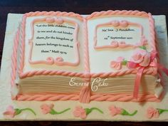 "Bible baptism cake cake 4 (SP169) - could be a good idea for a little girls birthday cake, made in the idea of a FAIRY TALE...""once upon a time..."""