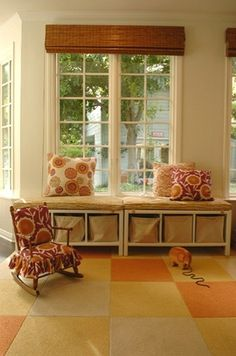 storage window seat.(could possibly use ikea expedit book base (1x4)