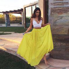 $169.99  Sexy 2 Piece Spaghetti Straps Yellow Prom Dress,Long Chiffon Prom Evening Gowns,Lace Prom Dress