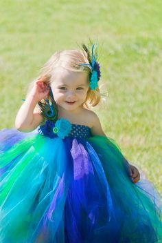 2T4T Child's Bright Peacock Tutu Dress  flower by PinkPosieCouture, $75.00