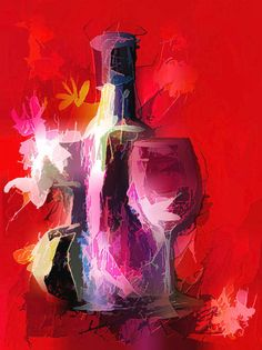 Colorful Modern Wine Art - Wine Bottle & glasses) Framed Art Print by olenaart Wine Bottle Glasses, Wine Bottle Art, Wine Art, Wine Painting, Painting Art, Bottle Drawing, Line Artwork, Creative Artwork, Impressionism Art
