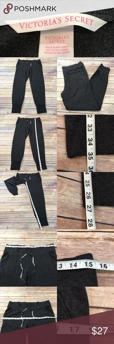 Size Medium Victoria Secret Jogger Lounge Pants • Measurements are in photos • Material tag is in the photos • Normal wash wear, no flaws • Drawstring Waist  • Lightweight  • Stretch, sleep pants  F1/71  Thank you for shopping my closet! Victoria's Secret Intimates & Sleepwear Pajamas