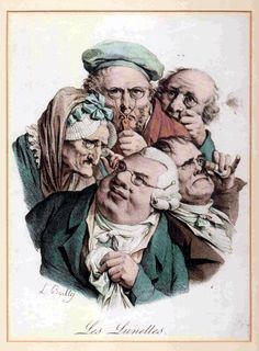 Les Lunettes by the French artist Louis-Léopold Boilly (1761-1845) is a hand-coloured lithograph from circa 1823. It shows five caricatures of men and women using different types of optical aid including a quizzing glass, a pair of scissor spectacles with a handle, a pair of wig spectacles with jointed sides, a pair of nose spectacles and a spyglass.
