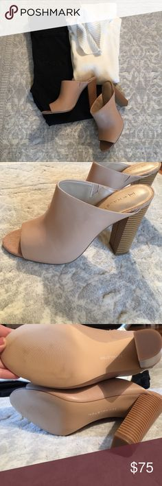 """Peep-Toe Open Back Pumps Perfect for transitioning into Fall. Worn once in excellent condition. 4.5"""" heel. H by Halston Shoes Heels"""