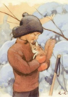 A friend. by artist Rudolf Koivu -- (winter, illustration, art, boy, squirrel) Art And Illustration, Christmas Illustration, Vintage Illustrations, Inspiration Art, Vintage Christmas Cards, Vintage Children, Childrens Books, Illustrators, Book Art